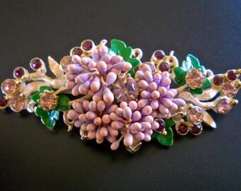 Paper Flower FLORENZA Brooch, Lavender Paper Buds, Rhinestones, Vintage