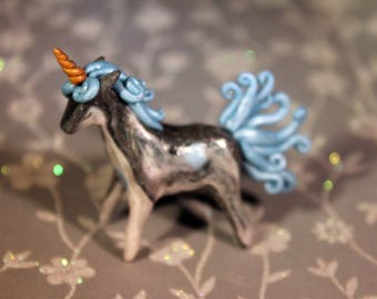 Miniature polymer clay unicorn art figurine