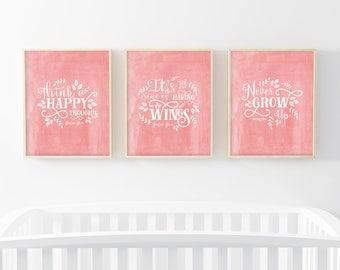 "INSTANT DOWNLOAD - Set of Three 8X10"" Printable digital art files - Peach, Peter Pan, Nursery wall art, Quote printable - SKU:6968"