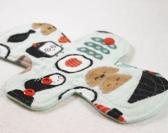 "Reusable Cloth Pad - 8"" (20cm) Light - Happy Sushi Flannel"