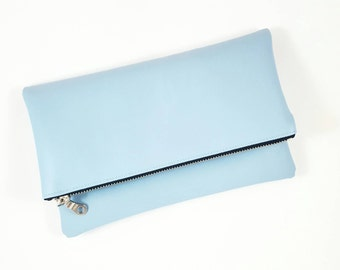 Vintage Blue Clutch Purse, Gift For Her, Bridesmaid Gift, Harlequin Lined