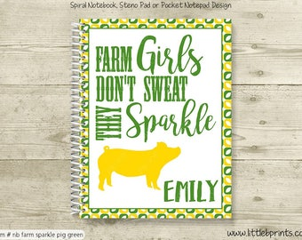 Livestock Pig Personalized Notebook Steno Pad or Notepad Journal Spiral Bound Livestock Judging Fairs Farm