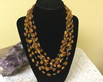 Vintage Genuine Amber Multistrand Necklace