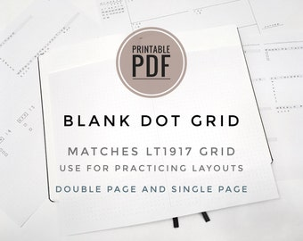 Printable PDF - Blank Journal & Planner Template for 5mm Grids / Dot Grid - Letter and A4 size / Double Page Spread and Single Page Spread