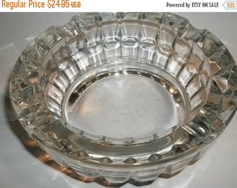 Lead Crystal Ash Trays Two Heavy Masculine Tobacciana Regal Dental Design Bowls Vintage 1960's Glass Home Decor  Mad Men Home Bar