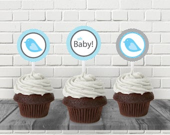 Bird Baby Shower, Blue Bird, New Baby, Printable Cupcake Topper, Baby Shower Printable, Printable PDF, Printable File, Instant Download