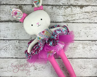 Made To Order Cloth Rabbit- Fabric Doll - Dress Up Doll - Handmade Doll - Rag Doll - Room Decor - Heirloom Doll