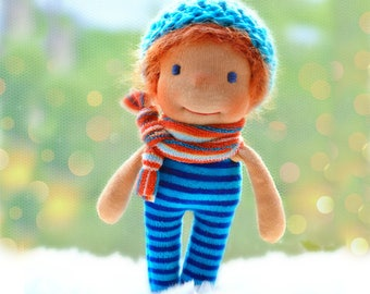 Waldorf doll, waldorf pocket doll, waldorf inspired doll, red headed boy doll, OOAK doll, miniature doll, dollhouse doll, toddler gift