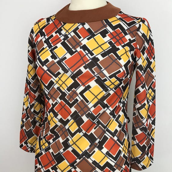 1960s top brown orange checkered Mod top longline check tunic Scooter Girl shell blouse UK 10 long sleeves
