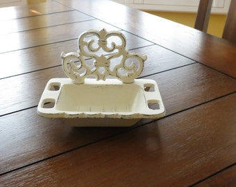Soap Dish / Business Card Holder/ Shabby Chic French Cottage Chic Fleur de Lis Bathroom Decor / Creamy White or Pick Color /Cast Iron Metal