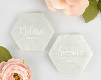 1x Engraved White Hexagon Marble Coaster