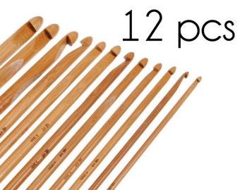 12 pieces bamboo crochet hook 3mm 3.5mm 4mm 4.5mm 5mm 5.5mm 6mm 6.5mm 7mm 8mm 9mm 10mm