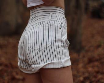 high waisted 1990s white stripped denim shorts