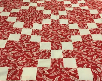 Beautiful Red and White Quilt Top 68x80