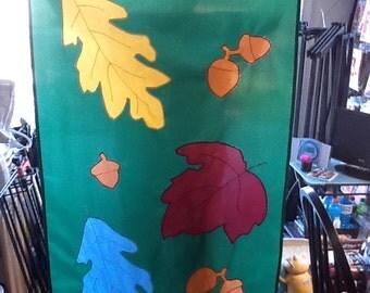 Fall / Autumn Leaves and Acorns Large Decorative Flag