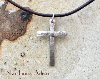 Sterling Silver Cross Necklace, Handmade Pendant, Hammered Cross, Men Women and Teens, Natural Dark Brown Leather Cord, Artisan Jewelry