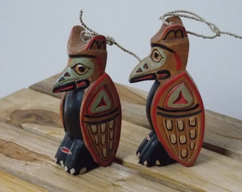 WOOD HANDPAINTED ORNAMENTS . Set of 2  . Indian Hanging . Made in Indonesia . New Condition . Hand Sculpted . Solid Wood . Raven