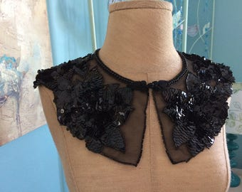 Vintage black sequin and beaded collar bib