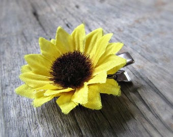 Sunflower Hair Clips (Set of 2), Silk Flower Hair Clip for Girls, Floral Hair Clip for Women, Sunflower Wedding Bridal Prom Hair Accessories