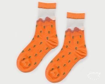 Desert Alone Sheer Cactus Socks
