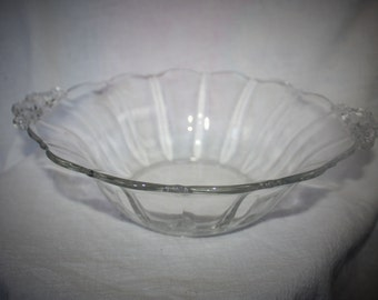 Lovely Scalloped Edge Glass Serving Bowl with Decorative Handles