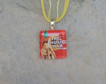 Broadway Musical The Music Man Jr. Glass Pendant and Ribbon Necklace