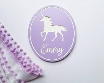 Personalized Unicorn Sign // Custom Engraved Unicorn Wall Art // Unicorn Decor // Kid's Room Decor // Unicorn Nursery // Kid's Unicorn Sign