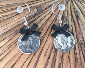 coin earrings - Queen Elizabeth - Silver Coin with black bow - Victorian earrings - Gothic Victorian - coin earrings - antiqued coin