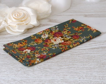 Pocket square Floral Teal Meadow
