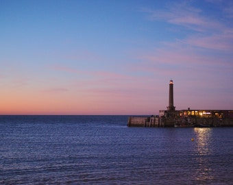 "Margate Pier at Sunset, Lighthouse, Calm Sea, Harbour Photography, Travel Photography, Wall Art 8"" x 10"""