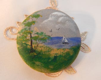 Painted Water Scene on a Grey Silky Satin Coat Button