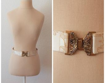 Vintage 60s Midcentury Gold Brocade Belt with Bronze Buckle