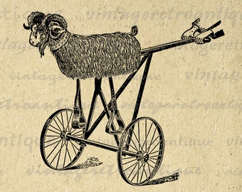 Antique Toy Goat Ride for Children Image Graphic Download Printable Illustration Digital Vintage Clip Art Jpg Png Print 300dpi No.1849