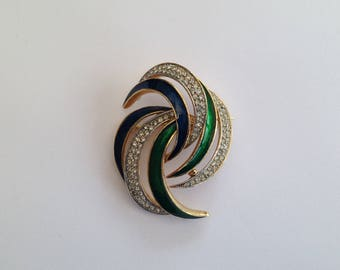 Vintage Attwood And Sawyer Crystal And Enamel Swirl Style Brooch.