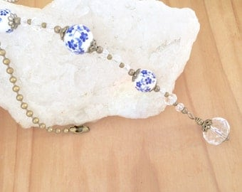 Ceiling fan pull, light pulls, blue ceramic beaded and glass Crystal ball chain pull, antique bronze pull chain, long decorative pull chain.