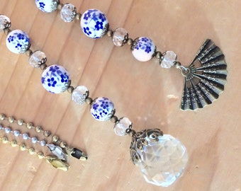 Ceiling fan pull set or light pull.  blue decorative ball chain pulls, Crystal, ceramic and bronze pull chains, lights decor