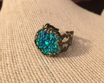 16mm Shiny Blue Filigree Adjustable Ring