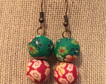 16mm Floral Double Clay Bead Earrings