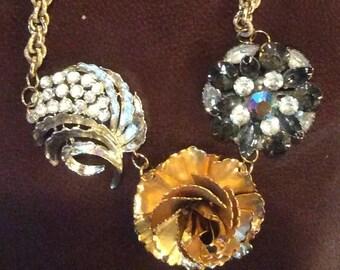 Vintage Assemblage Brooch Necklace