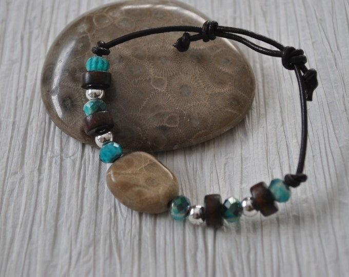 Petoskey Stone Bracelet on leather with teal beads, sterling silver beads, Up North, bracelet, Michigan, Unisex