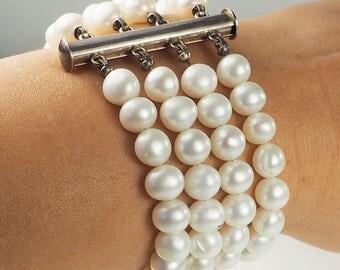 Elegant sterling silver and pearl string bracelet