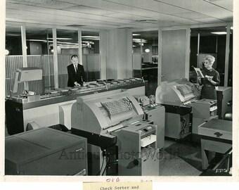 Check sorter / postal machinery vintage photo