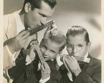 Father and sons harmonica mouth harp family band vintage music photo