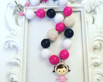 Pink Eskimo Chunky Necklace, Pink Eskimo Gumball Necklace, Pink Eskimo Beaded Necklace, Pink Eskimo Custom Necklace For Girls,