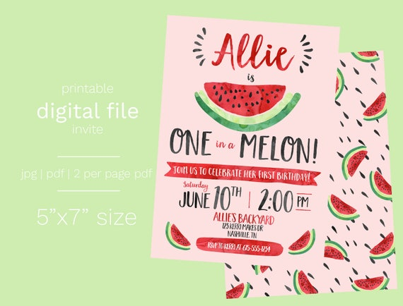 Watermelon Birthday Invitation DIGITAL FILE One in a Melon First