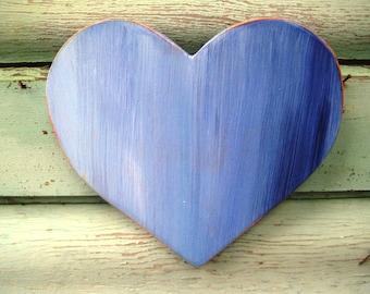 Wooden Wall Heart,Blue Wood Heart,Rustic Heart,Bohemian Art,Baby Nursery Heart,Boho Heart Decor,Wood Heart Wall Art,Wood Anniversary Gift