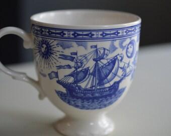 Blue and White Christopher Columbus Mug Cup Nikko Japan