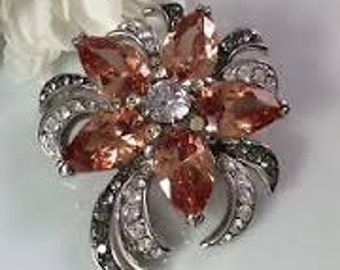 Jackie Kennedy Brooch - Topaz Orchid Brooch with Crystals, Box and COA