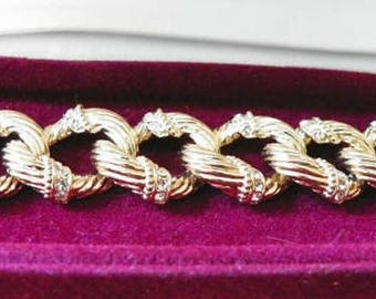 Jackie Kennedy GP Bracelet - 24K with Crystal Accents, Box and COA - Sz 7 or 8