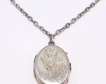 Victorian 830S Locket And Watch Chain w/Swivel Engraved